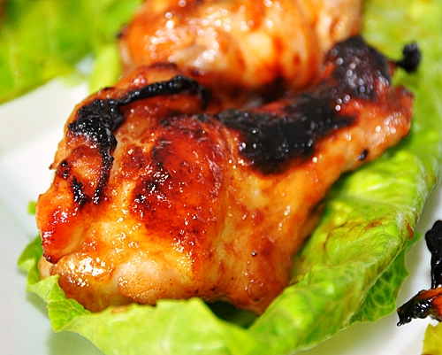 Grilled Chicken Nibbles with Homemade Tangy Barbecue Sauce