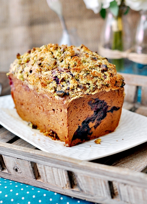 Raspberry Muffin Loaf with Coconut Pistachio Crunch