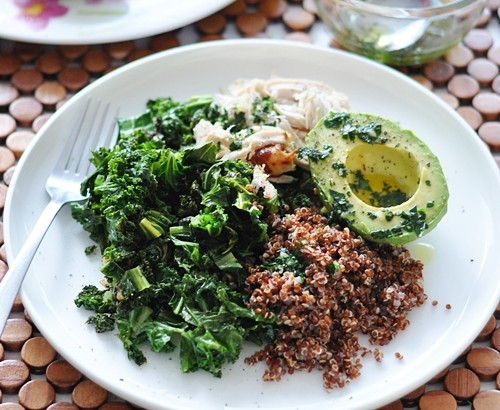 Kale, Quinoa, Avocado & Roast Chicken Salad