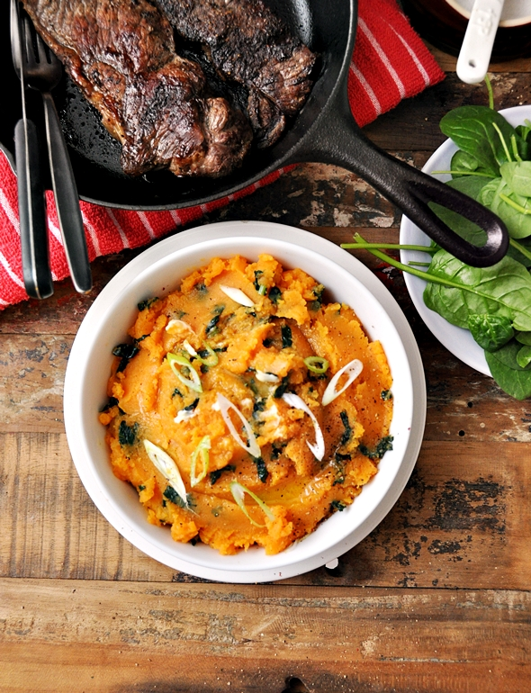 Sweet Potato Colcannon (Irish Style Mash with Kale) & A Giveaway with Grand Cucina