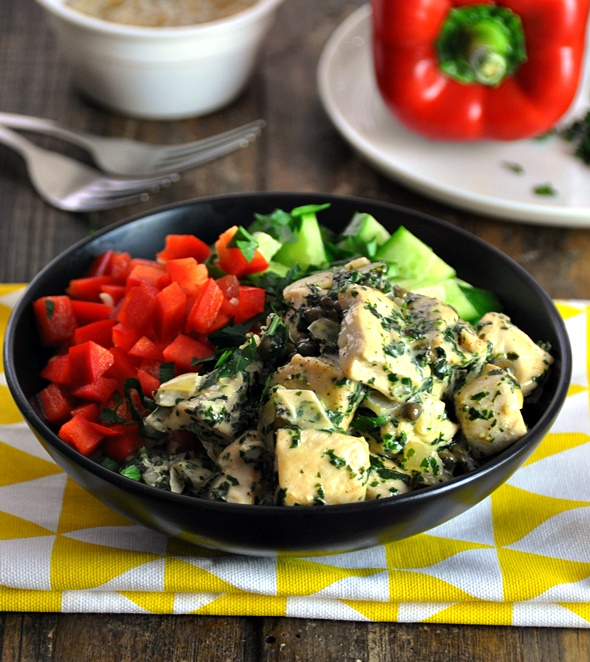 [Recipe] Chicken with Cilantro-Parsley-Capers Sauce Rice Bowl, Gluten Free