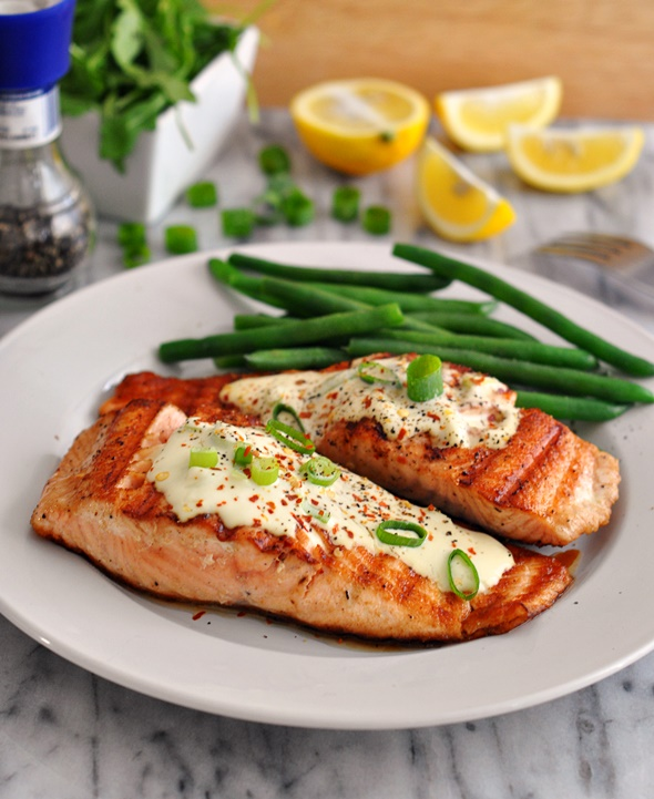 Grilled Salmon Fillets With Wasabi & Lemon Cream Sauce