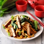 Tofu, Bok Choy & Broccolini Noodles with Soy-Maple-Sesame Sauce