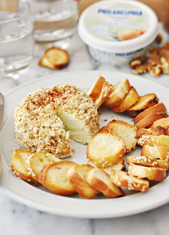 Bagel Chips with Walnut Dukkah Crusted Cream Cheese {Part One of Party Nibbles Ideas with Philadelphia Australia}