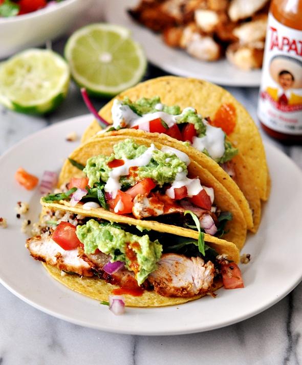 Grilled Chicken & Guacamole Taco with Garlic-Yoghurt-Tahini Sauce