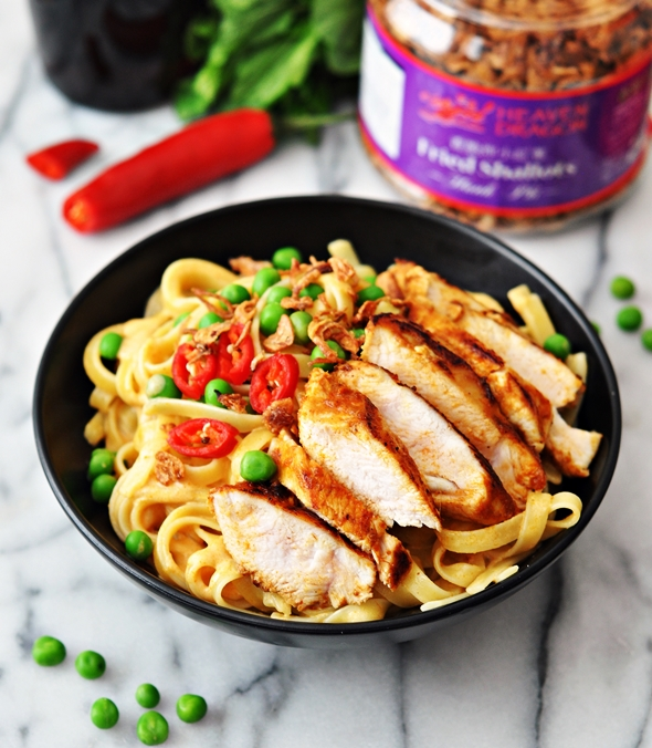 "Thai Style Fettuccine ""Alfredo"" with Pan Seared Spiced Chicken {Dairy Free Recipe}"