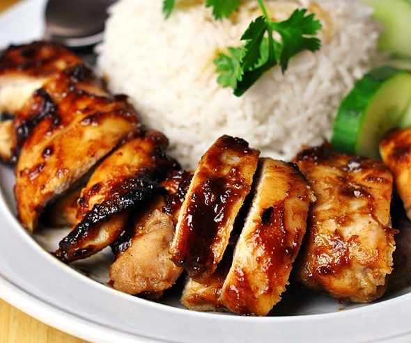 Hoisin Sauce & Five-Spice Grilled Chicken Rice (Inspired by Malaysian Roast Chicken Rice)