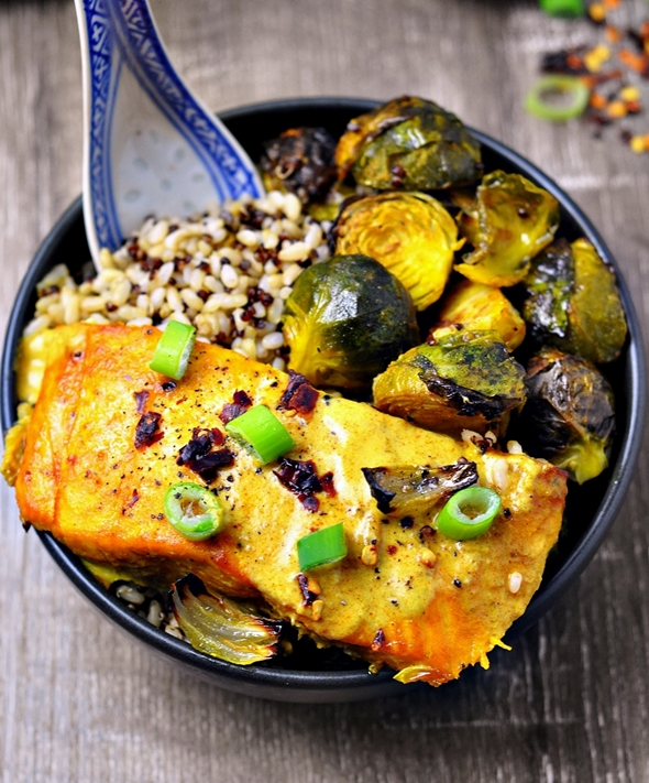 Grilled Turmeric Salmon & Brussels Sprouts Rice Bowl & SunRice Competition